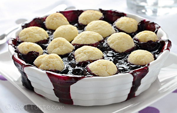 Blueberry Cobbler - vegan, low-fat, sugar-free