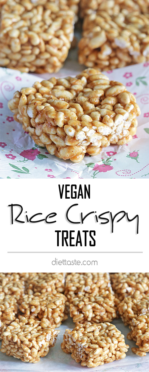 Vegan Rice Crispy Treats - brow rice cereals with peanut butter and sugar syrup (no marshmallow), flavored with vanilla and cinnamon - great healthy post workout treat for grown ups or afternoon treat for kids