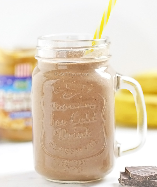 Peanut Butter Protein Shake - extra thick banana and chocolate smoothie; all natural proteins, no powders!