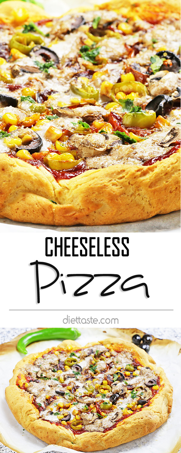 Cheeseless Pizza - use simple walnut sauce instead of cheese on your homemade pizza to make it dairy-free!
