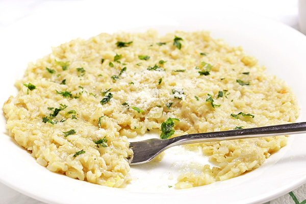 Brown Rice Risotto - healthier and easier to make then classic Italian white rice risotto
