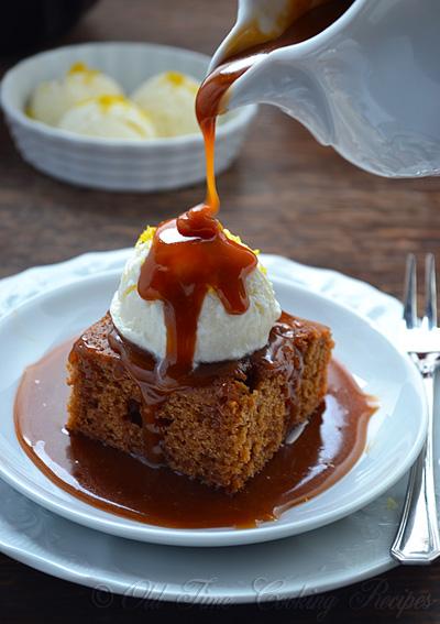 Gingerbread Cake with Caramel Sauce | Kitchen Nostalgia