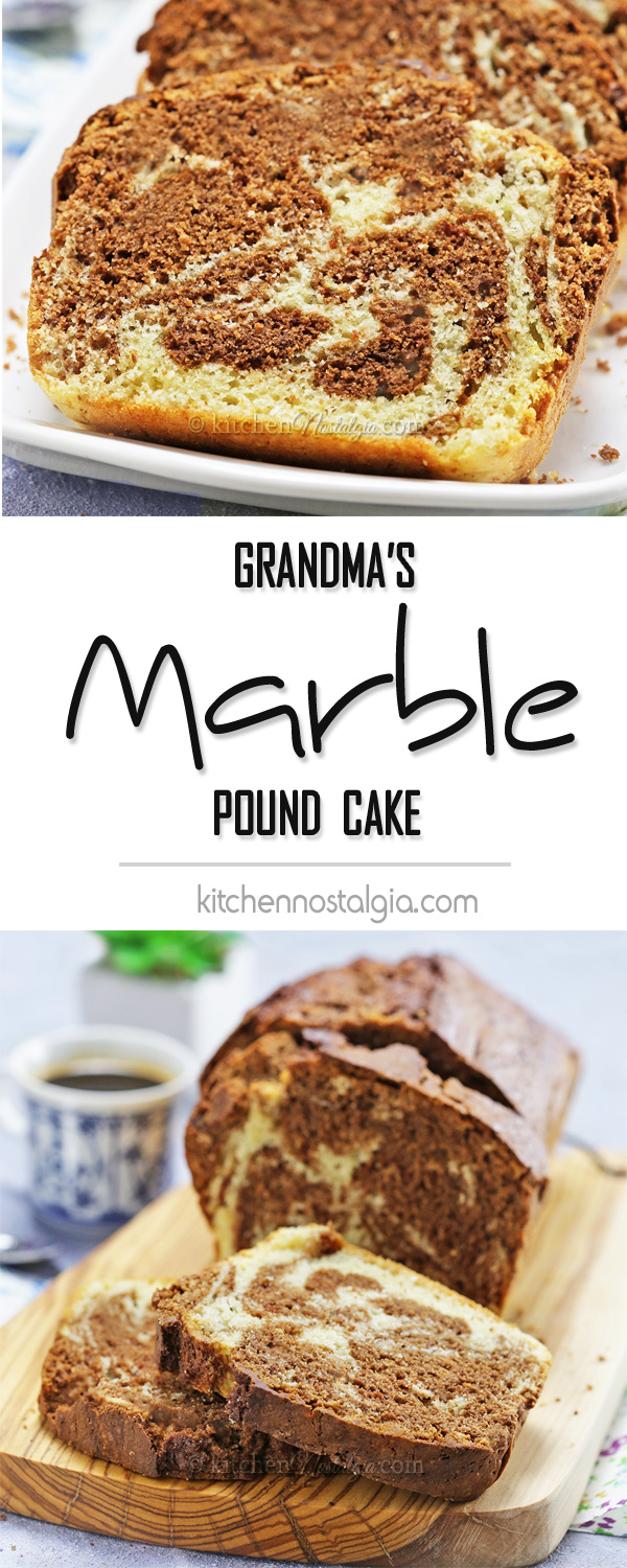 Grandma's Marble Pound Cake - my family recipe; dense and rich; with wonderful flavor coming from lemon zest, rum and chocolate; can be baked in bundt cake tin too!