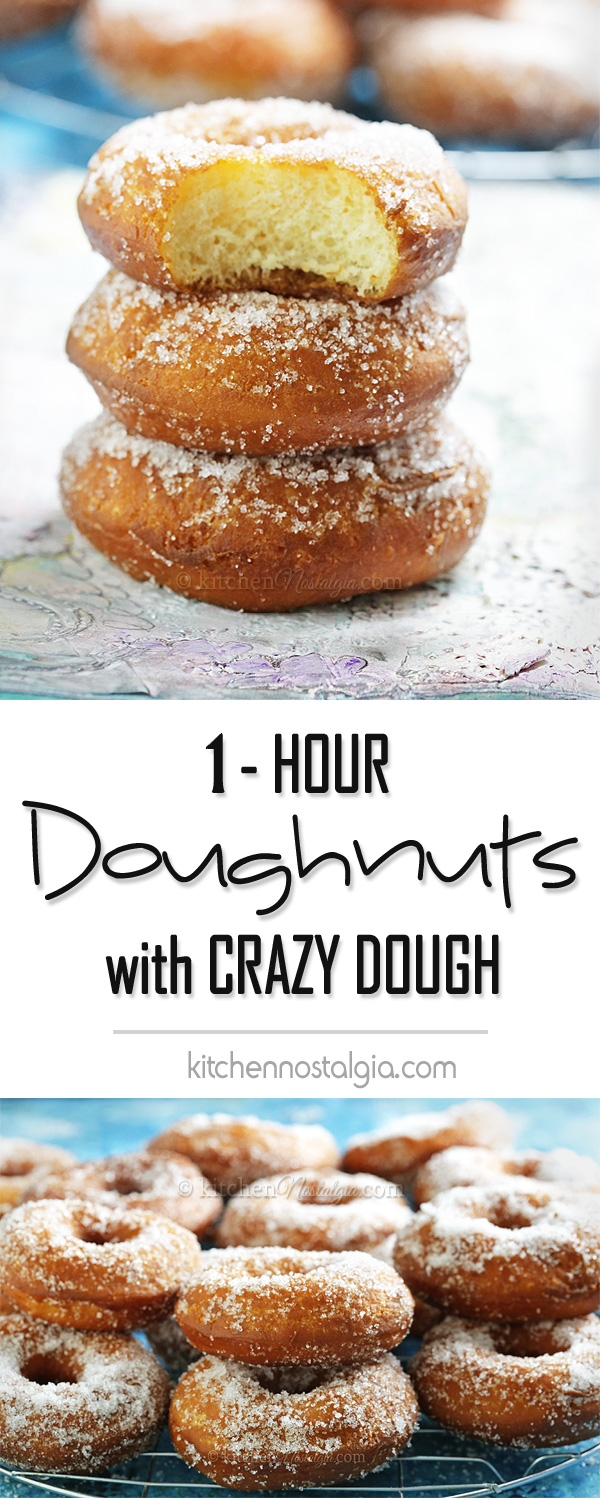 Crazy Dough Doughnuts - make a bunch of homemade doughnuts from scratch in just 1 hour!