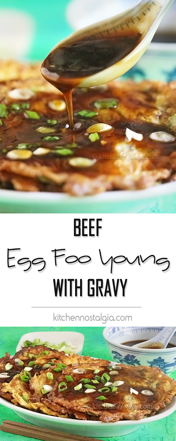 Beef Egg Foo Young with Thick Gravy - quick and easy homemade version of favorite Chinese takeaway meal!