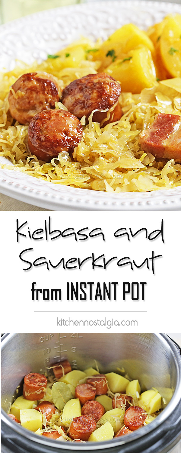 Kielbasa and Sauerkraut in Instant Pot - easy one pot recipe for a favorite Polish winter dish