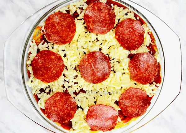Spaghizza = spaghetti + pizza = pizza style baked spaghetti casserole!