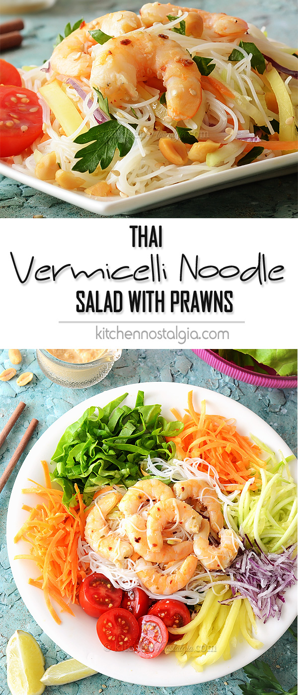 Thai Vermicelli Noodle Salad with Prawns and spicy creamy coconut milk ...