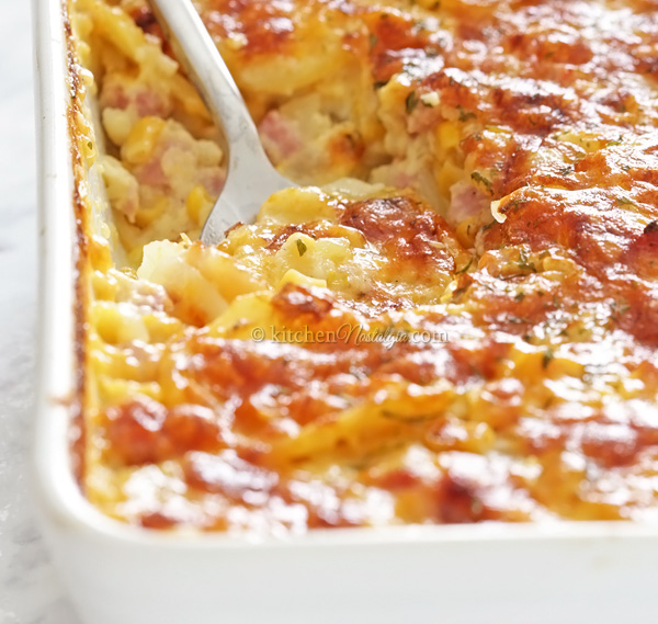 Scalloped Potatoes and Ham - easy, no layering method; perfect potato to filling ratio; creamy and cheesy!