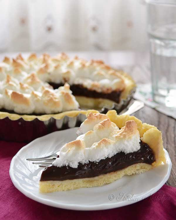 Old Fashioned Chocolate Pie - by kitchennostalgia.com