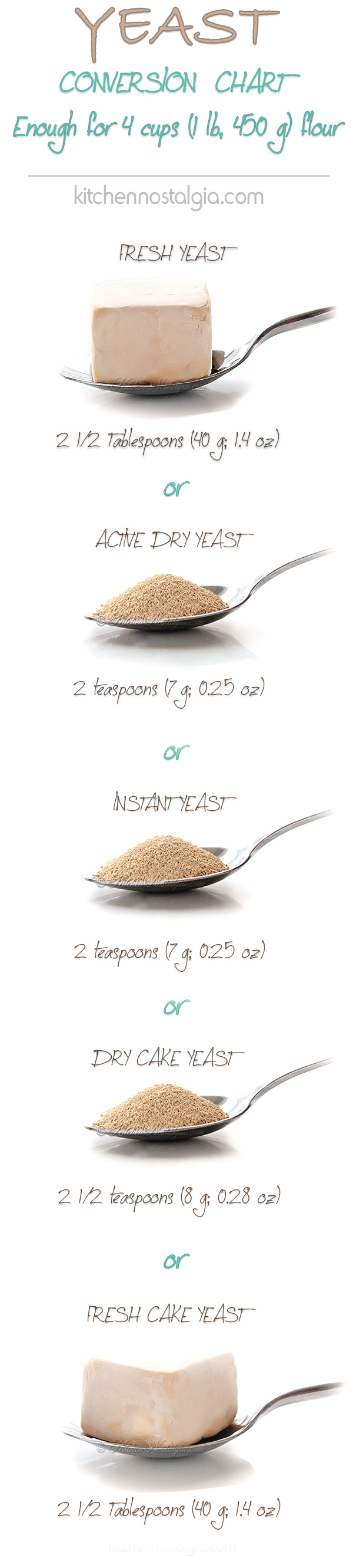 Yeast Conversion Chart - by kitchennostalgia.com