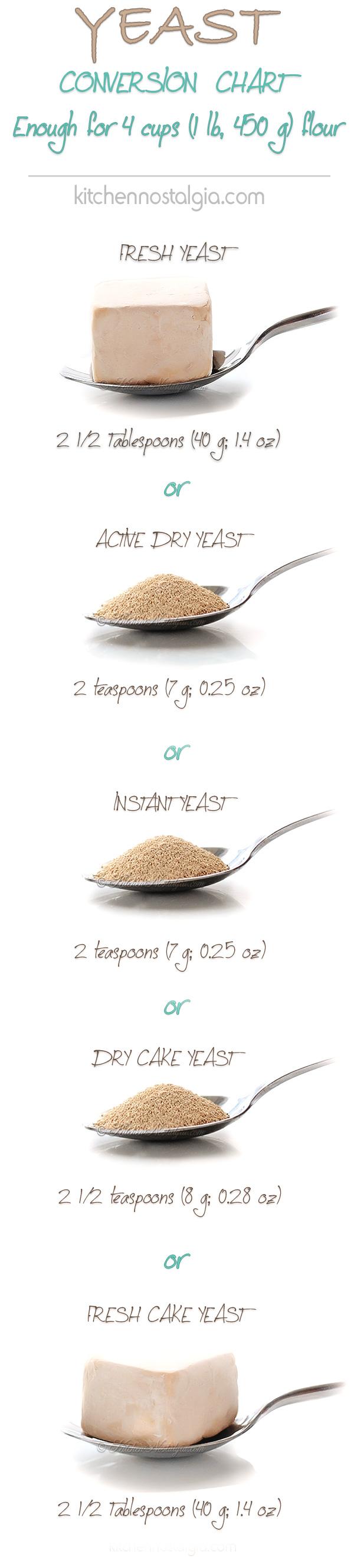 Yeast Conversion Chart - kitchennostalgia.com