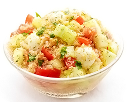 Quinoa Cucumber Tomato Mozzarella Salad