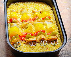 Oven Baked Chicken Skewers and Rice