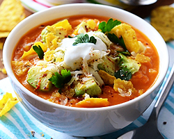 Sweet Potato Soup with Tortilla Chips