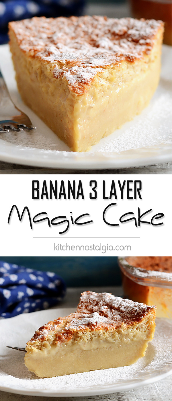 Banana Magic 3 Layer Custard Cake - kitchennostalgia.com