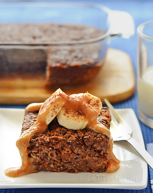 Chocolate Peanut Butter Baked Oatmeal - diettaste.com