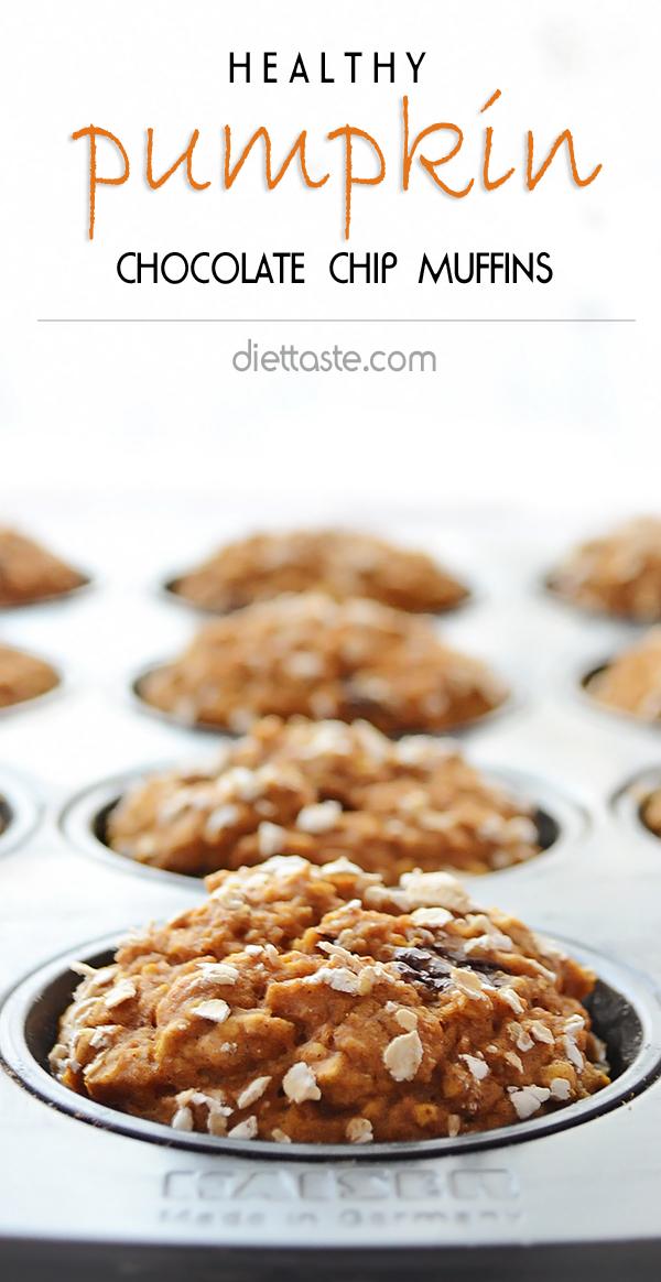 Healthy Pumpkin Chocolate Chip Muffins - only 160 calories - diettaste.com