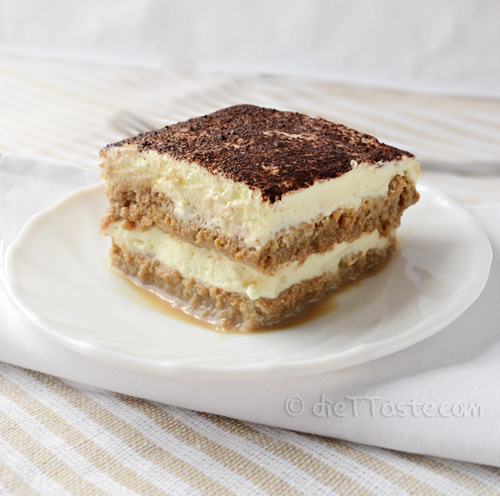 Eggless Tiramisu - easy and quick summer dessert; ready in a few minutes