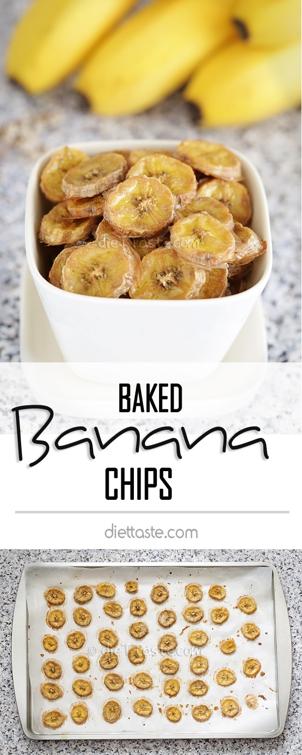 Baked Banana Chips - baked in the oven, drizzled with some honey and sprinkled with cinnamon, banana chips is a great healthy snack for both kids and adults