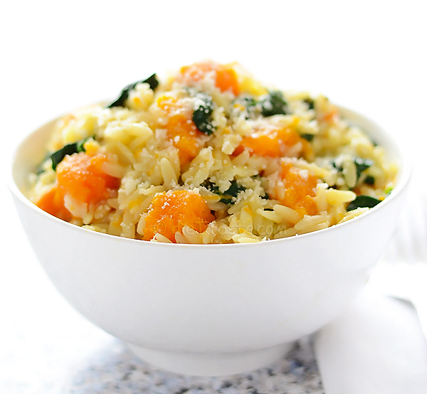 Orzo with Butternut Squash and Spinach - diettaste.com