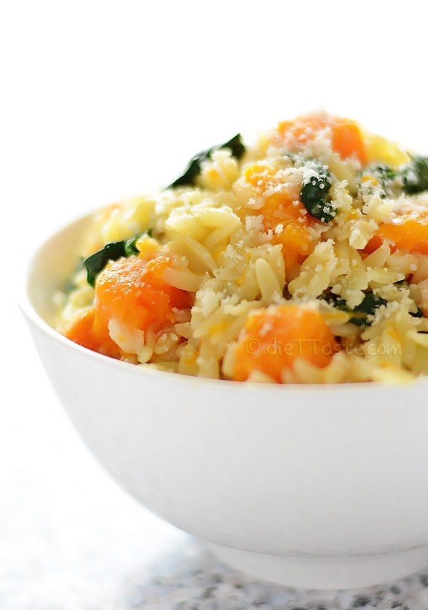 Orzo with Butternut Squash and Spinach | http://homemaderecipes.com/cooking-102/healthy-recipes/orzo-recipes/