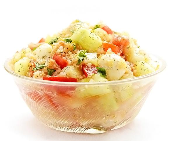 Quinoa Cucumber Tomato Mozzarella Salad - diettaste.com