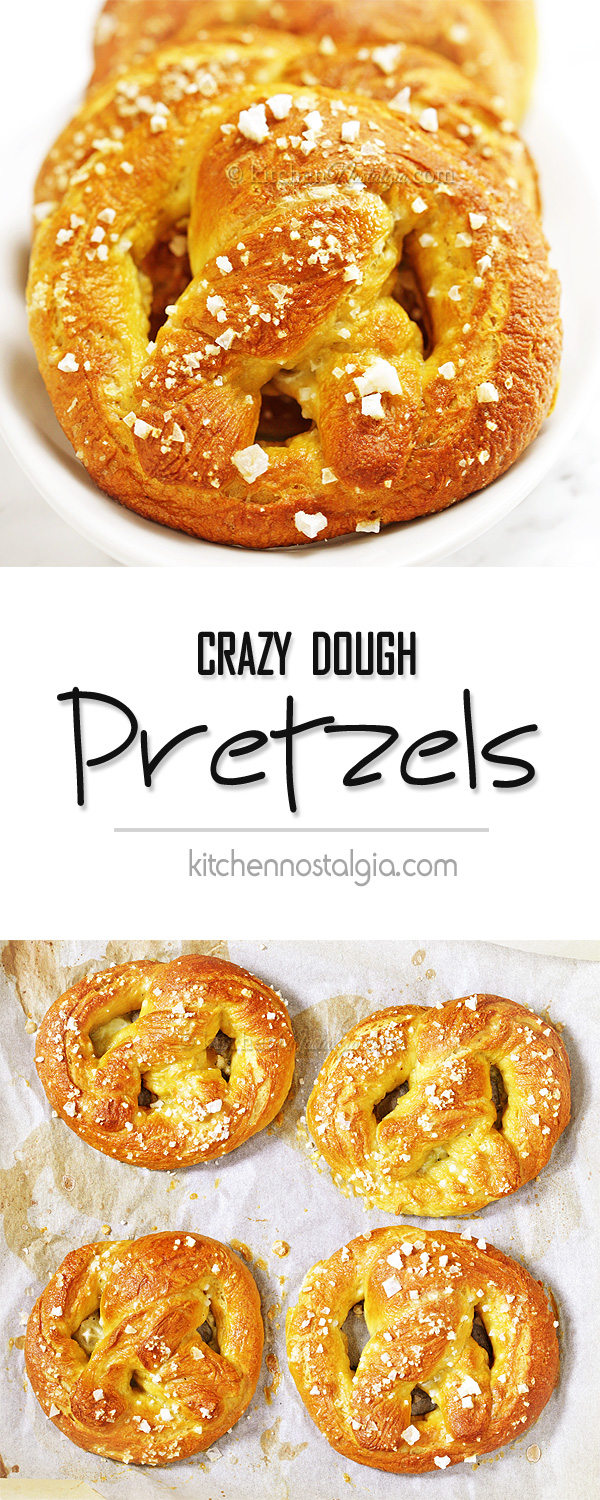 Crazy Dough Pretzels - easy homemade pretzels, golden brown, crisp thin crust and chewy interior. Just like from bakery!