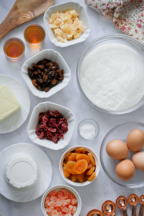 Moist White Fruitcake - ingredients prepared for baking