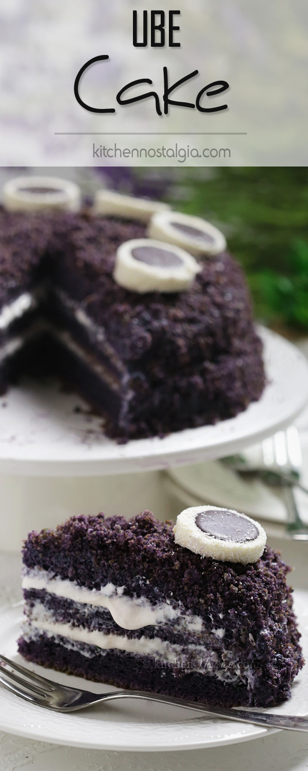 Ube Cake - unusual purple chiffon cake made with ube (Filipino name for purple yam/sweet potato) and coconut