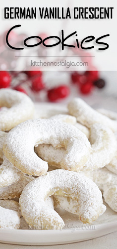 German Vanilla Crescent Cookies - tender, melt-in-your-mouth, buttery cookies with ground walnuts.