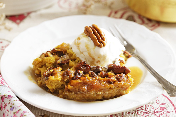 Pumpkin Pecan Cobbler - a self-saucing, crunchy autumn delight easy to make with cake mix!