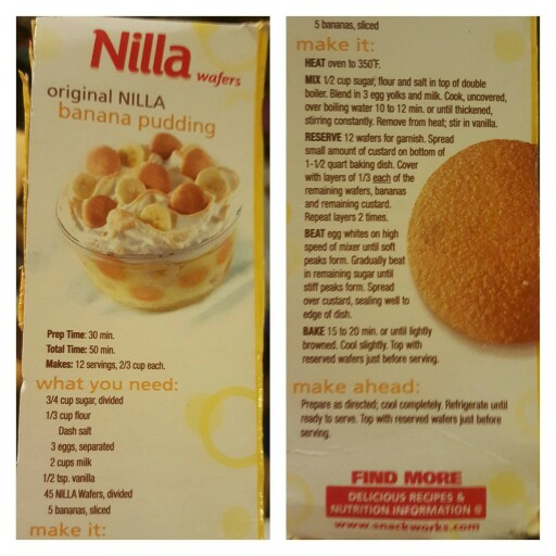 Original Nilla Wafer Banana Pudding from Nabisco Box