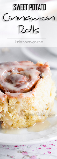 Sweet Potato Cinnamon Rolls with maple cream cheese frosting – perfect breakfast for a lazy Sunday morning!