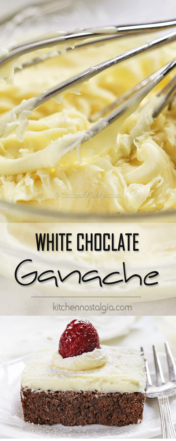 White Chocolate Ganache - the easiest way to make fluffy and rich glaze or frosting/icing for your cakes and desserts