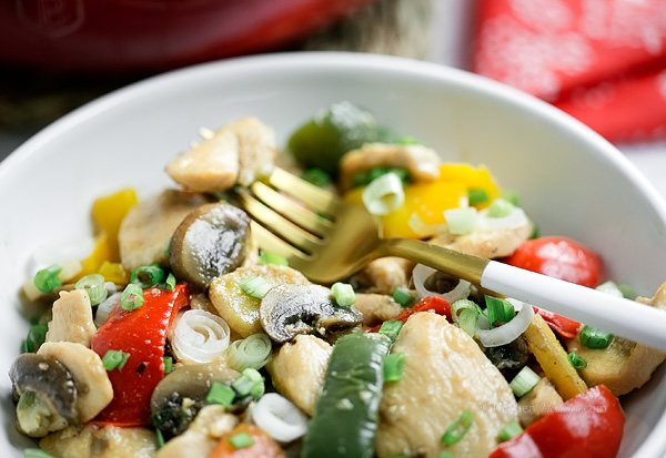 Moo Goo Gai Pan - Americanized Chinese chicken, mushroom and vegetables stir fry dish made at home; easy, quick and healthy!