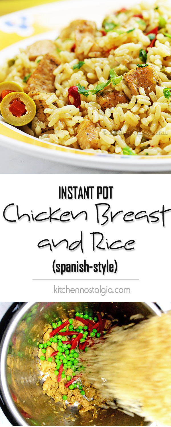 Instant Pot Chicken Breast and Rice - Spanish Style dish cooked in 10 minutes from scratch!