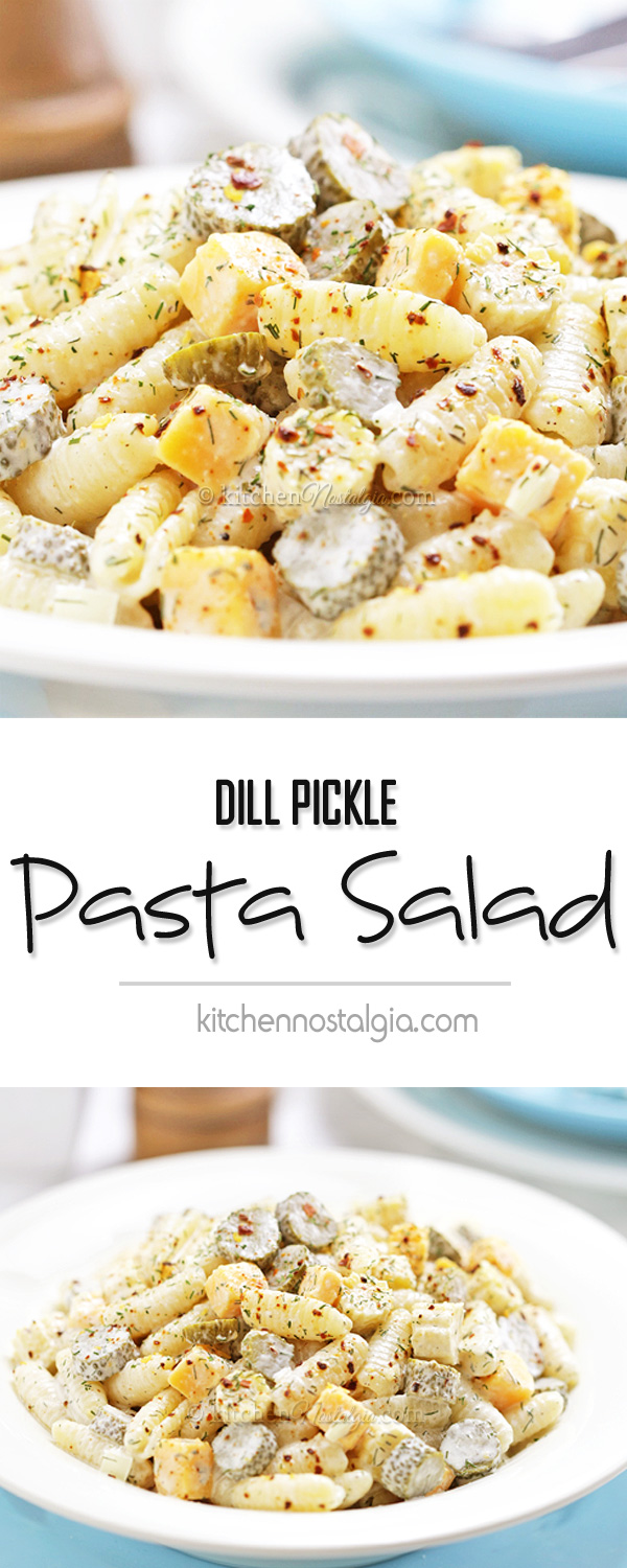 Dill Pickle Pasta Salad - crunchy baby dill pickles, creamy dressing, Cheddar cheese and pickle juice infused pasta - what a burst of flavors!