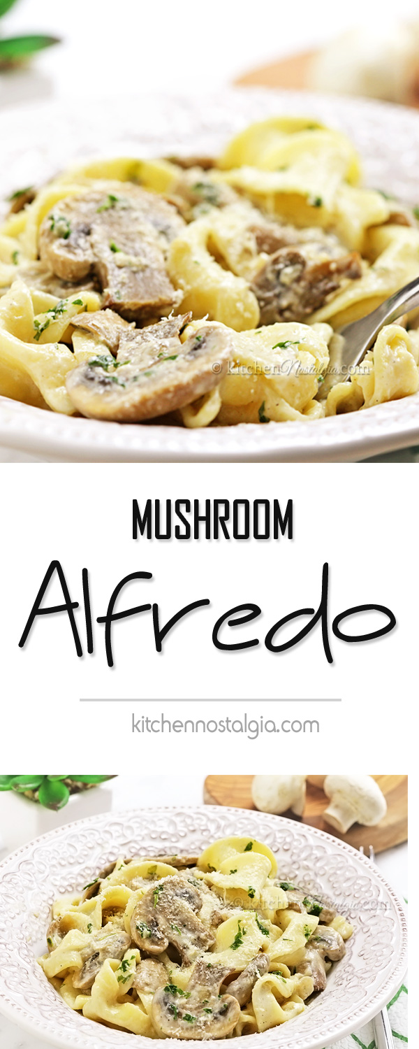 Mushroom Alfredo - you need only 20 minutes for this autumn perfection of pasta smothered with creamy Mushroom Alfredo sauce (made from scratch)!