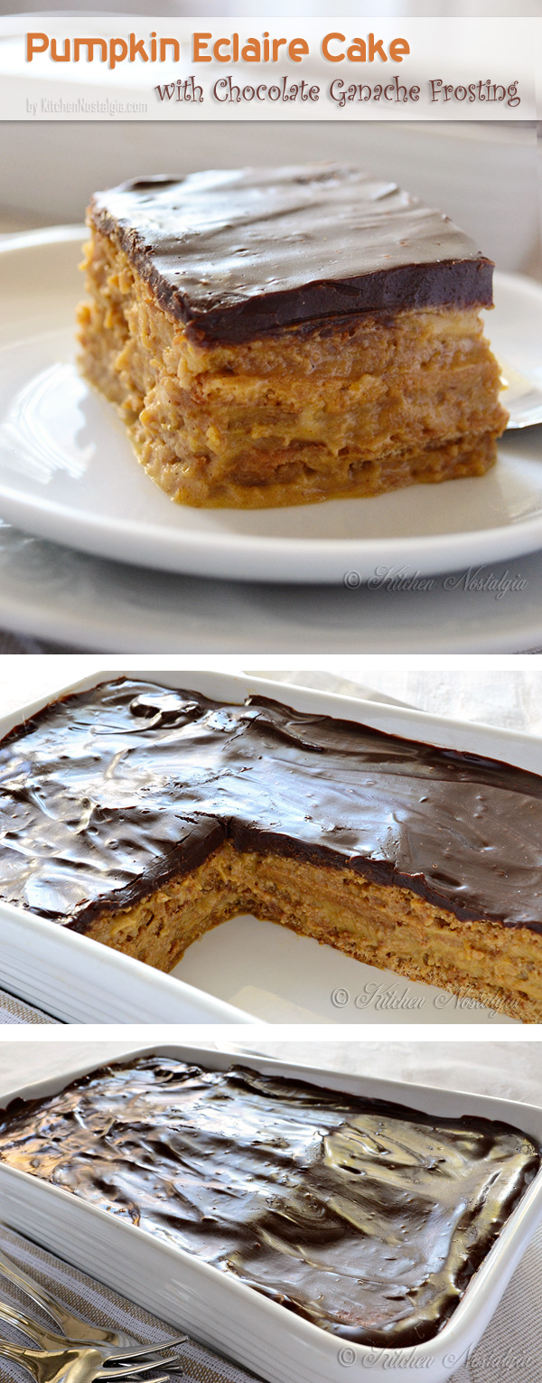 Pumpkin Eclair Cake with Chocolate Ganache Frosting - no bake; recipe from kitchennostalgia.com