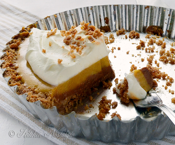 Triple Layer Pumpkin Icebox Pie - by kitchennostalgia.com