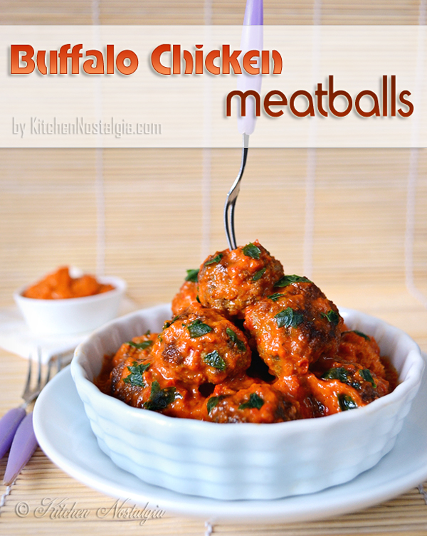 Buffalo Chicken Meatballs - kitchennostalgia.com