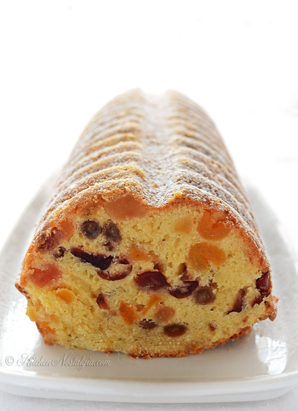 Moist White Fruitcake - mixed fruits in soft cake with rum and vanilla flavor