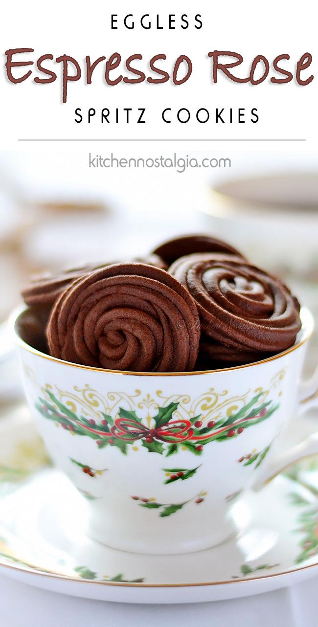 Espresso Rose Spritz Cookies - KitchenNostalgia.com
