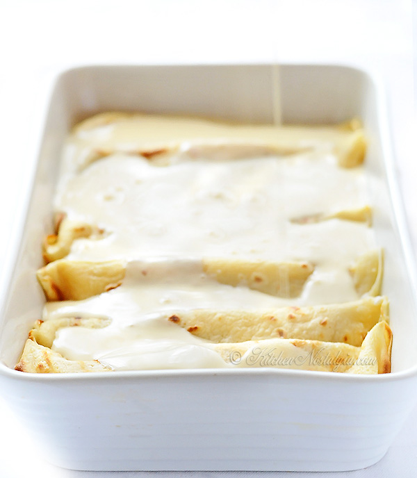 Croatian Baked Pancakes (Crepes) with Cottage Cheese - kitchennostalgia.com