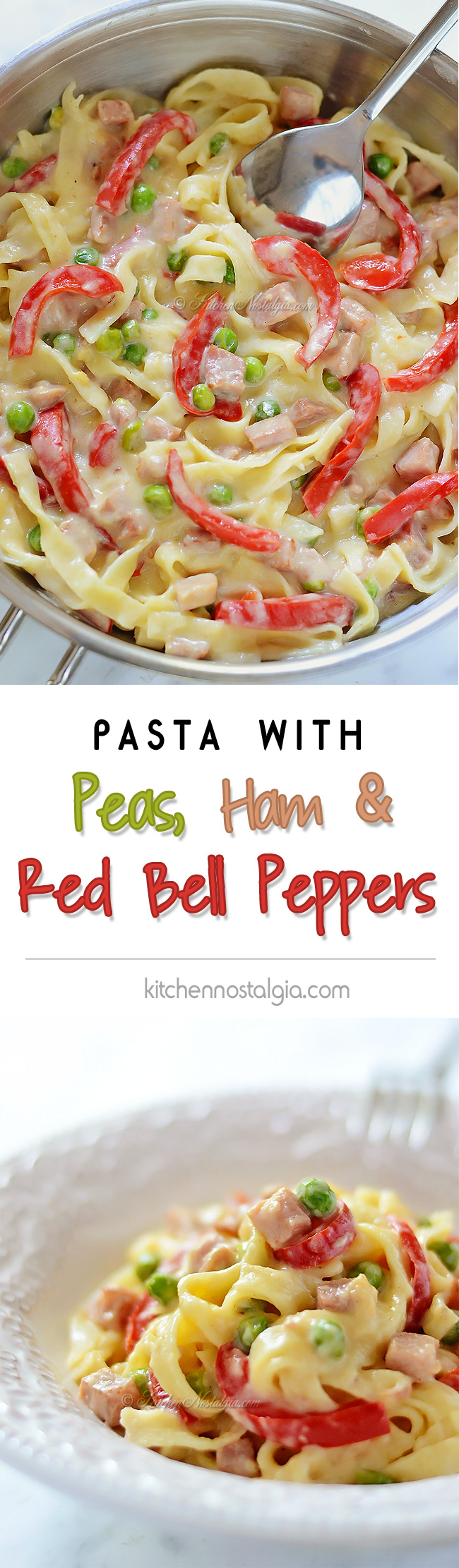 Pasta with Peas, Ham and Red Bell Peppers