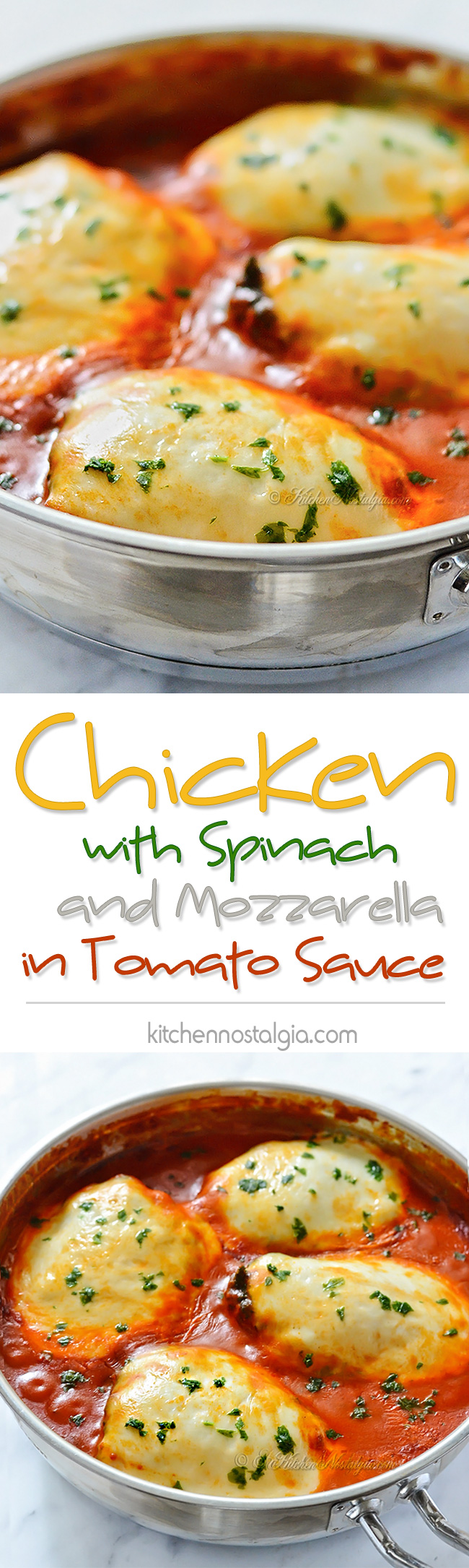 Chicken with Spinach and Mozzarella in Tomato Sauce - kitchennostalgia.com