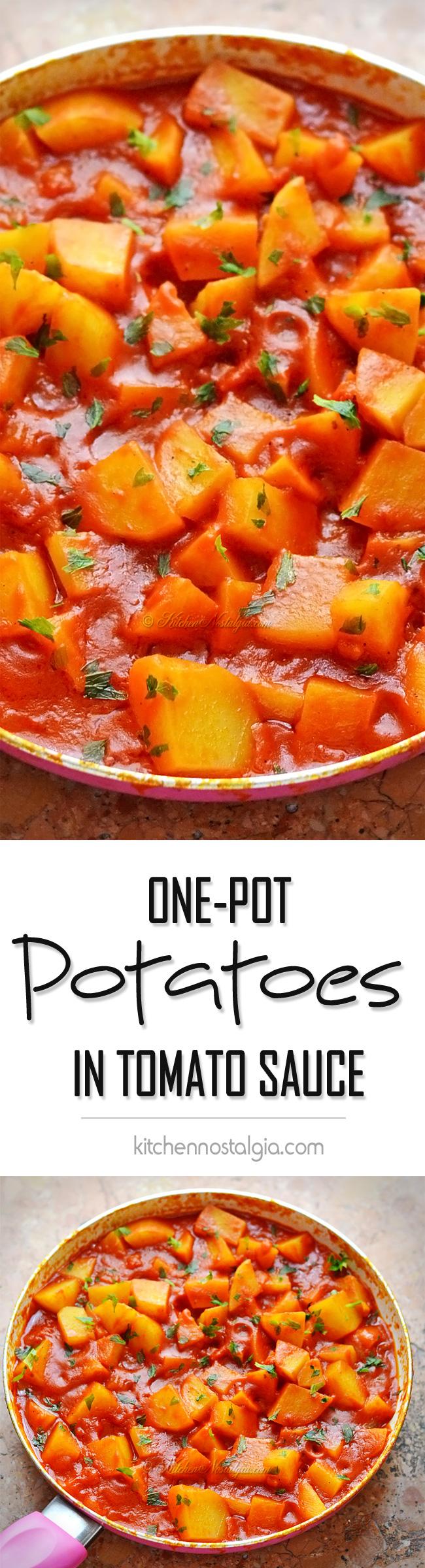 Potatoes in Tomato Sauce - kitchennostalgia.com