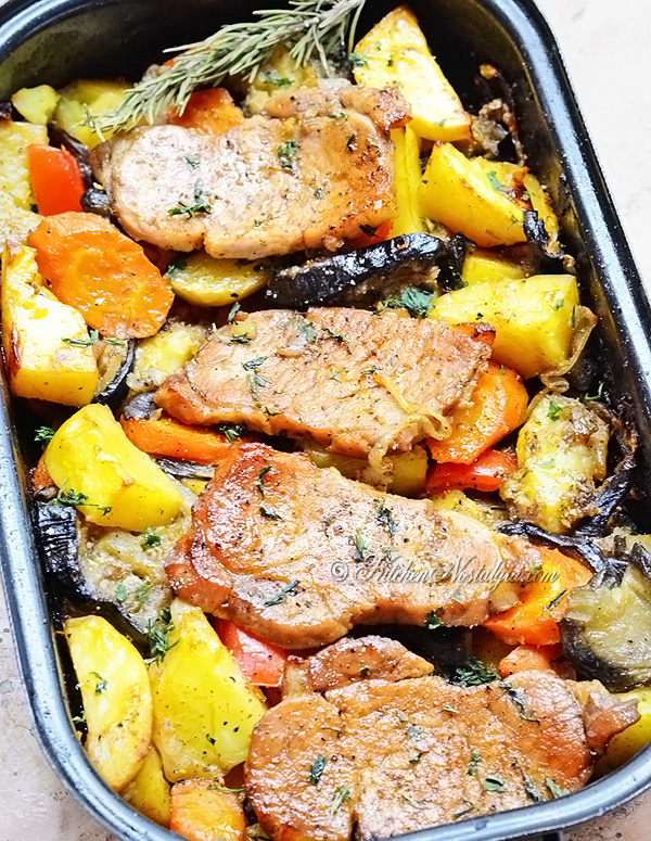 Oven Baked Pork Chops - tender and juicy pork chops, brined then baked in the oven with potatoes, vegetables and beer; easy and super delicious!