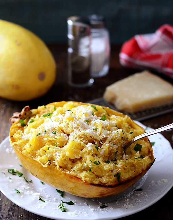 Baked Spaghetti Squash with Butter and Parmesan Cheese - kitchennostalgia.com